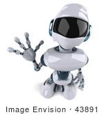#43891 Royalty-Free (Rf) Illustration Of A 3d Robot Mascot Waving - Version 3