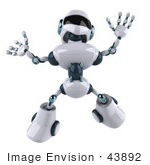 #43892 Royalty-Free (Rf) Illustration Of A 3d Robot Mascot Jumping