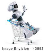 #43893 Royalty-Free (Rf) Illustration Of A 3d Robot Mascot Riding In A Shopping Cart - Version 2