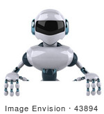 #43894 Royalty-Free (Rf) Illustration Of A 3d Robot Mascot Standing Behind A Blank Sign