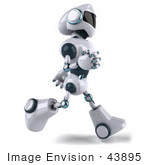 #43895 Royalty-Free (Rf) Illustration Of A 3d Robot Mascot Running Right