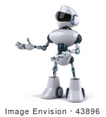 #43896 Royalty-Free (Rf) Illustration Of A 3d Robot Mascot Gresturing To The Left - Version 2