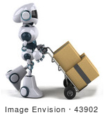 #43902 Royalty-Free (Rf) Illustration Of A 3d Robot Mascot Pushing Boxes On A Dolly - Version 1