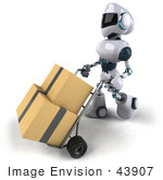 #43907 Royalty-Free (Rf) Illustration Of A 3d Robot Mascot Pushing Boxes On A Dolly - Version 2