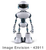 #43911 Royalty-Free (Rf) Illustration Of A 3d Robot Mascot Standing And Facing Front