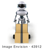 #43912 Royalty-Free (Rf) Illustration Of A 3d Robot Mascot Pushing Boxes On A Dolly - Version 3