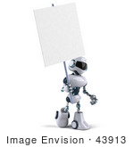 #43913 Royalty-Free (Rf) Illustration Of A 3d Robot Mascot Holding A Blank Sign - Version 2