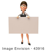 #43916 Royalty-Free (Rf) Illustration Of A 3d White Businesswoman Mascot Holding Up A Blank Sign - Version 1
