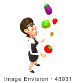 #43931 Royalty-Free (Rf) Illustration Of A 3d White Businesswoman Mascot Juggling Veggies - Version 4