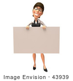 #43939 Royalty-Free (Rf) Illustration Of A 3d White Businesswoman Mascot Holding Up A Blank Sign - Version 2