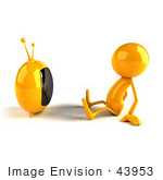 #43953 Royalty-Free (Rf) Illustration Of A 3d Orange Man Mascot Watching Television - Version 1