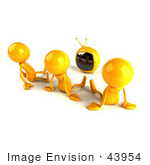 #43954 Royalty-Free (Rf) Illustration Of 3d Orange Characters Watching Tv - Version 2