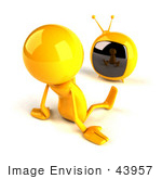 #43957 Royalty-Free (Rf) Illustration Of A 3d Orange Man Mascot Watching Television - Version 2