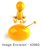 #43962 Royalty-Free (Rf) Illustration Of A 3d Orange Man Mascot Watching Television - Version 3