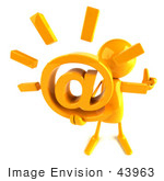 #43963 Royalty-Free (Rf) Illustration Of A 3d Orange Man Mascot Holding An At Symbol - Version 3