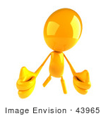 #43965 Royalty-Free (Rf) Illustration Of A 3d Orange Man Mascot Giving Two Thumbs Up - Version 2