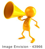 #43966 Royalty-Free (Rf) Illustration Of A 3d Orange Man Mascot Using A Megaphone - Version 4