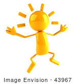 #43967 Royalty-Free (Rf) Illustration Of A 3d Orange Man Mascot Jumping - Version 1