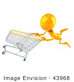 #43968 Royalty-Free (Rf) Illustration Of A 3d Orange Man Mascot Pushing A Shopping Cart - Version 3