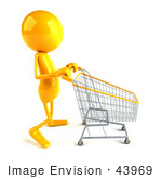 #43969 Royalty-Free (Rf) Illustration Of A 3d Orange Man Mascot Pushing A Shopping Cart - Version 2