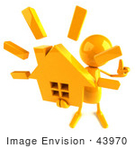 #43970 Royalty-Free (Rf) Illustration Of A 3d Orange Man Mascot Holding A House - Version 3