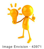 #43971 Royalty-Free (Rf) Illustration Of A 3d Orange Man Mascot Holding A Light Bulb - Version 2