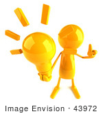 #43972 Royalty-Free (Rf) Illustration Of A 3d Orange Man Mascot Holding A Light Bulb - Version 3