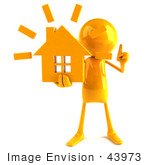 #43973 Royalty-Free (Rf) Illustration Of A 3d Orange Man Mascot Holding A House - Version 1