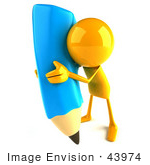 #43974 Royalty-Free (Rf) Illustration Of A 3d Orange Man Mascot With A Giant Blue Pencil - Version 5