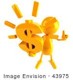 #43975 Royalty-Free (Rf) Illustration Of A 3d Orange Man Mascot Holding A Dollar Symbol - Version 3