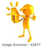#43977 Royalty-Free (Rf) Illustration Of A 3d Orange Man Mascot Holding A House - Version 2