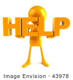 #43978 Royalty-Free (Rf) Illustration Of A 3d Orange Man Mascot Holding Help - Version 1