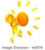 #43979 Royalty-Free (Rf) Illustration Of A 3d Orange Man Mascot Using A Megaphone - Version 3