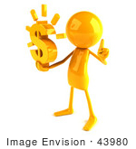 #43980 Royalty-Free (Rf) Illustration Of A 3d Orange Man Mascot Holding A Dollar Symbol - Version 2