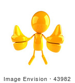 #43982 Royalty-Free (Rf) Illustration Of A 3d Orange Man Mascot Giving Two Thumbs Up - Version 1