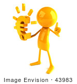 #43983 Royalty-Free (Rf) Illustration Of A 3d Orange Man Mascot Holding A Euro Symbol - Version 2