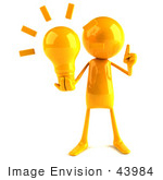 #43984 Royalty-Free (Rf) Illustration Of A 3d Orange Man Mascot Holding A Light Bulb - Version 1