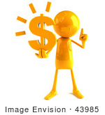 #43985 Royalty-Free (Rf) Illustration Of A 3d Orange Man Mascot Holding A Dollar Symbol - Version 1