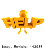 #43986 Royalty-Free (Rf) Illustration Of A 3d Orange Man Mascot Holding Help - Version 3