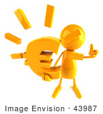 #43987 Royalty-Free (Rf) Illustration Of A 3d Orange Man Mascot Holding A Euro Symbol - Version 3