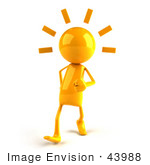 #43988 Royalty-Free (Rf) Illustration Of A 3d Orange Man Mascot Walking