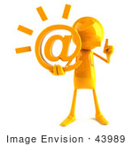#43989 Royalty-Free (Rf) Illustration Of A 3d Orange Man Mascot Holding An At Symbol - Version 1