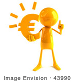 #43990 Royalty-Free (Rf) Illustration Of A 3d Orange Man Mascot Holding A Euro Symbol - Version 1