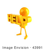 #43991 Royalty-Free (Rf) Illustration Of A 3d Orange Man Mascot Holding Help - Version 2