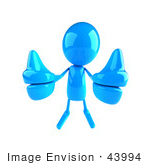 #43994 Royalty-Free (Rf) Illustration Of A 3d Blue Man Mascot Giving Two Thumbs Up