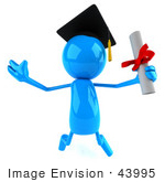#43995 Royalty-Free (Rf) Illustration Of A 3d Blue Man Mascot Graduate Holding His Diploma - Version 1