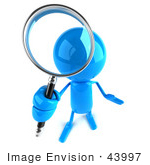 #43997 Royalty-Free (Rf) Illustration Of A 3d Blue Man Mascot Using A Magnifying Glass - Version 4