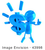 #43998 Royalty-Free (Rf) Illustration Of A 3d Blue Man Mascot Holding A Dollar Symbol - Version 3