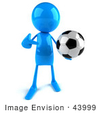 #43999 Royalty-Free (Rf) Illustration Of A 3d Blue Man Mascot Playing Soccer - Version 1