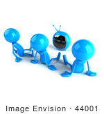 #44001 Royalty-Free (Rf) Illustration Of 3d Blue Man Characters Watching Television - Version 2